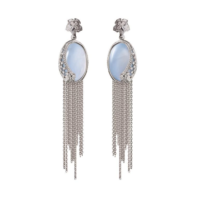 Sierpes chalcedony diamond maxi fringe earrings