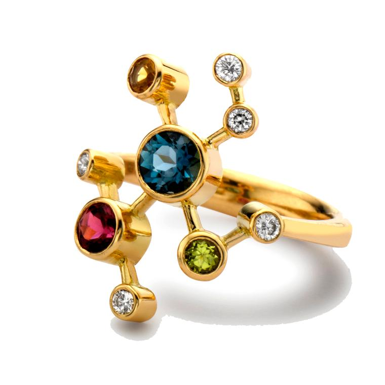 Alexander Davis Half Dendritic yellow gold ring with coloured gemstones