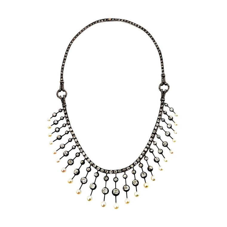 Kentshire diamond and pearl fringe necklace