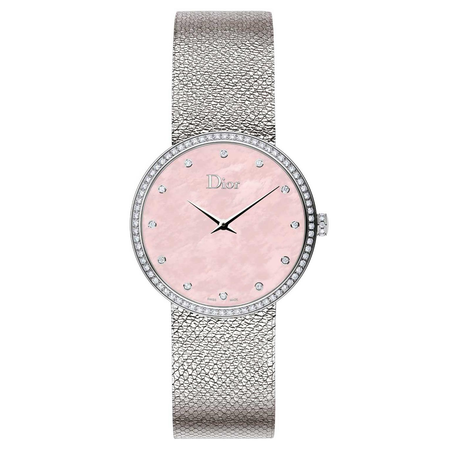 La D de Dior Satine watch with a pink mother-of-pearl dial and diamonds