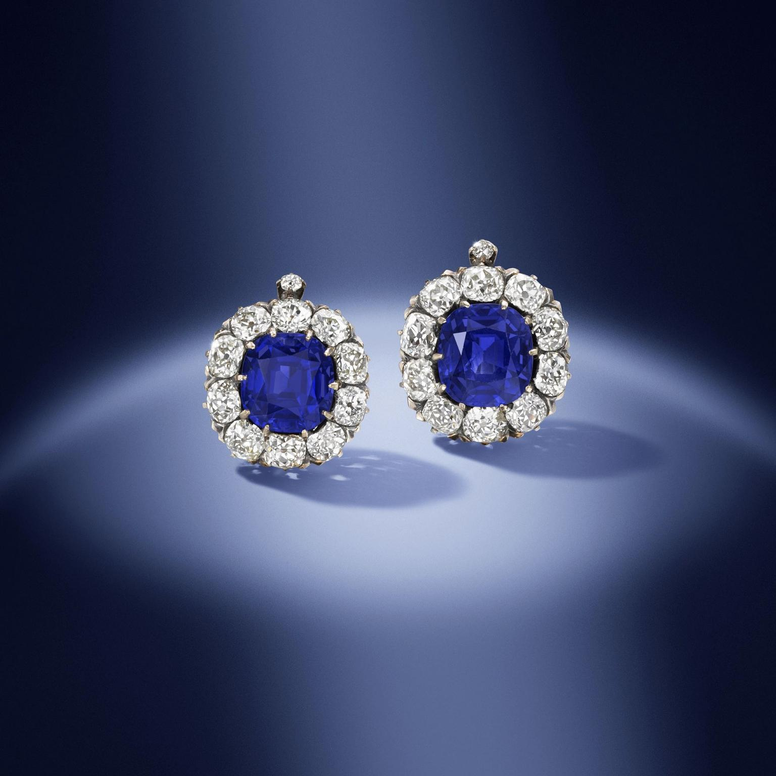 19th century Kashmir sapphire earrings