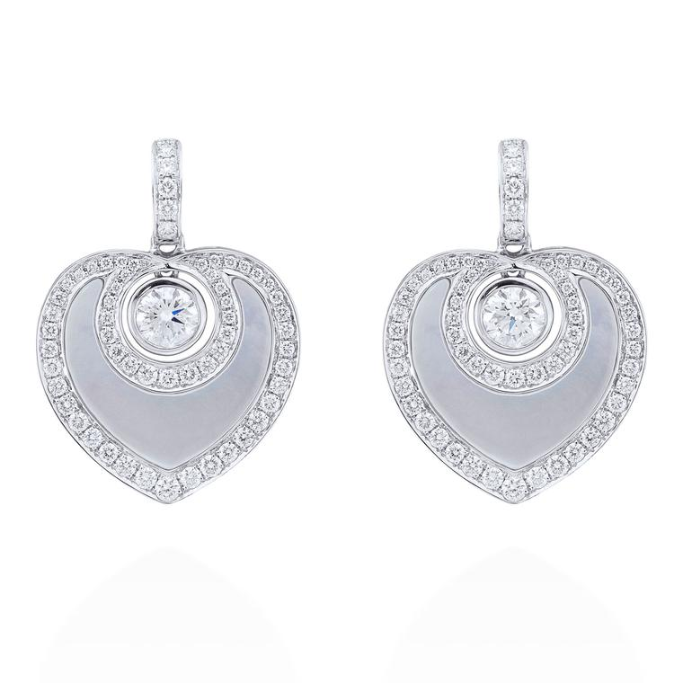 Boodles Sophie platinum, diamond and grey mother-of-pearl earrings