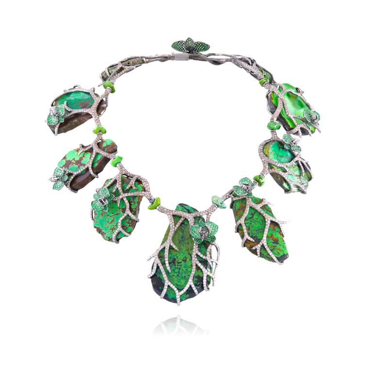 Lydia Courteille turquoise tsavorite brown diamond necklace