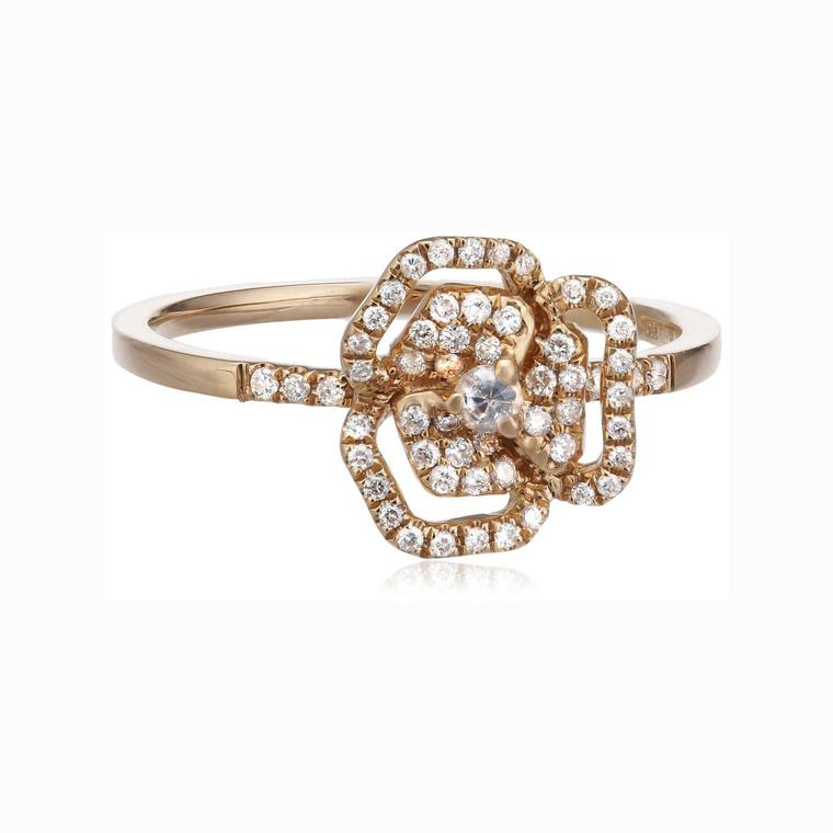 AS29 white diamond and sapphire rose gold flower ring