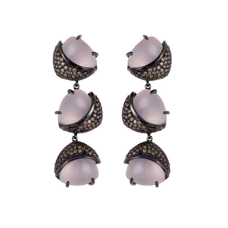 Arya Esha rose quartz and champagne diamond earrings