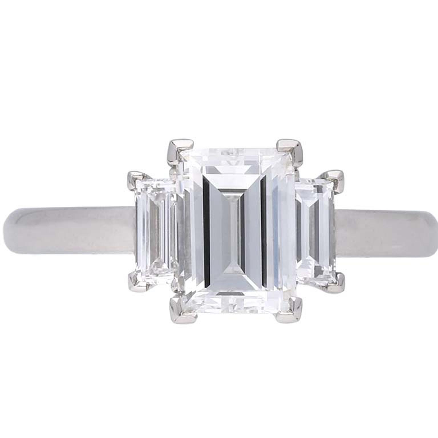 Berganza Art Deco flanked solitaire diamond engagement ring