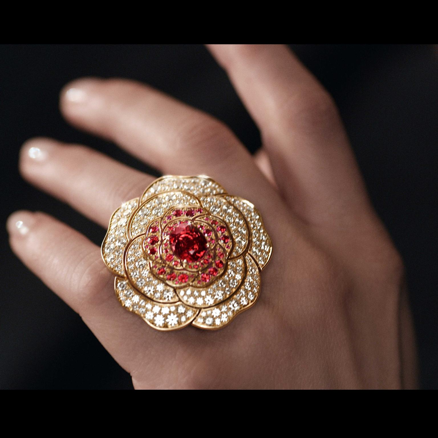 Chanel 1.5 Rouge Tentation spinel and diamond rose gold ring 2