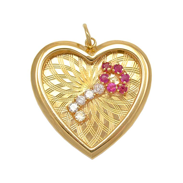 Alice Kwartler gold ruby Key to my Heart pendant