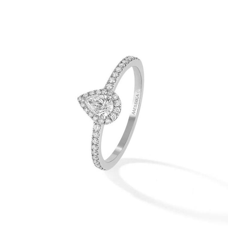 Messika Joy pear-shape solitaire engagement ring
