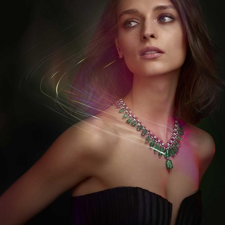Cartier Chromophonia emerald, spinel, mandarin garnet, turquoise and diamond necklace from Coloratura collection 2018