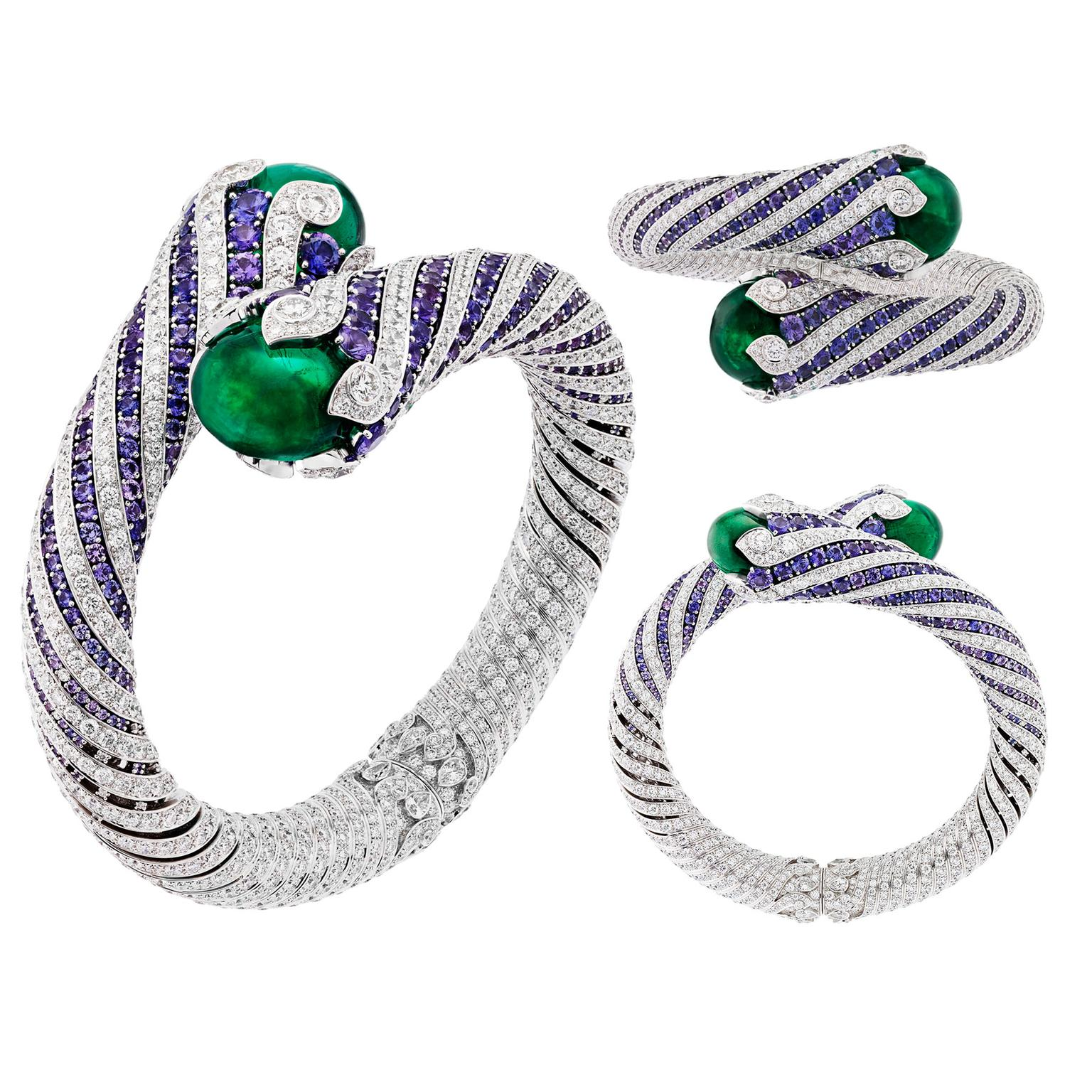 Van Cleef & Arpels Twist Émeraude violet sapphire and emerald high jewellery bracelet