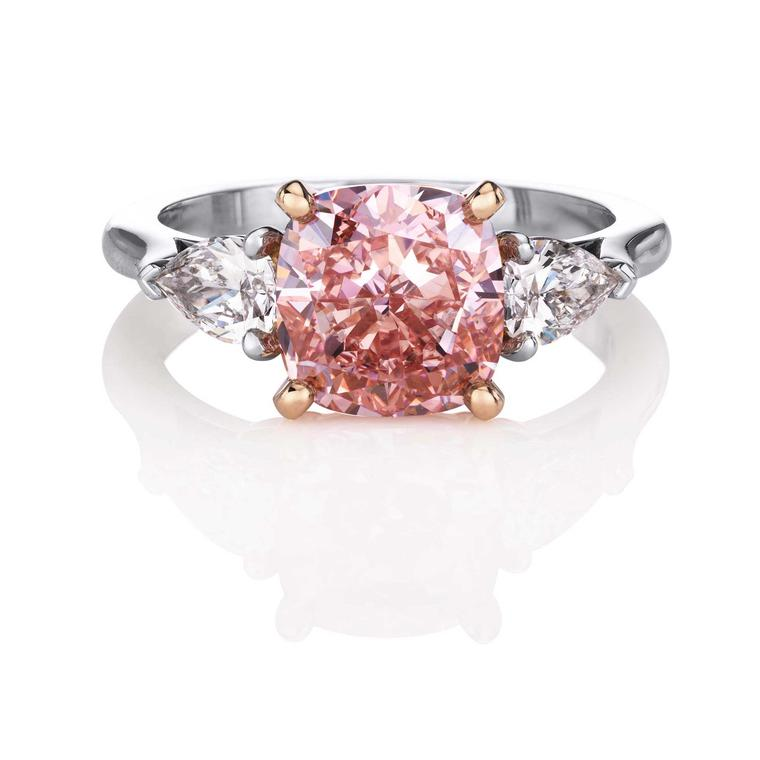De Beers cushion-cut Fancy Intense pink diamond ring