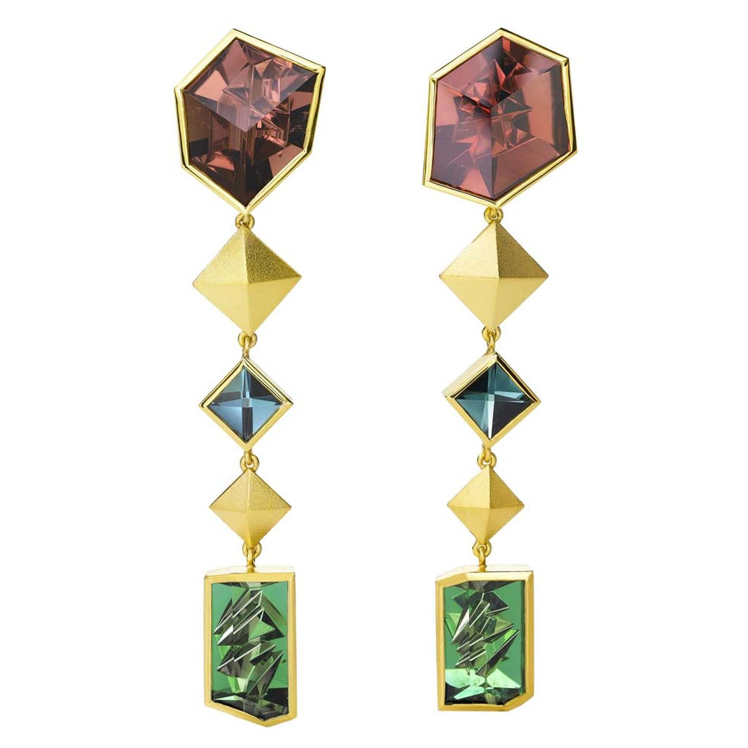 Munsteiner Extensions earrings set with six tourmalines in yellow gold.