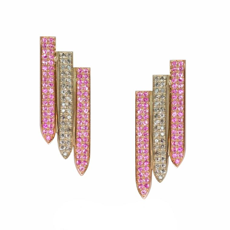 Ralph Masri geometric gold and grey diamond earrings