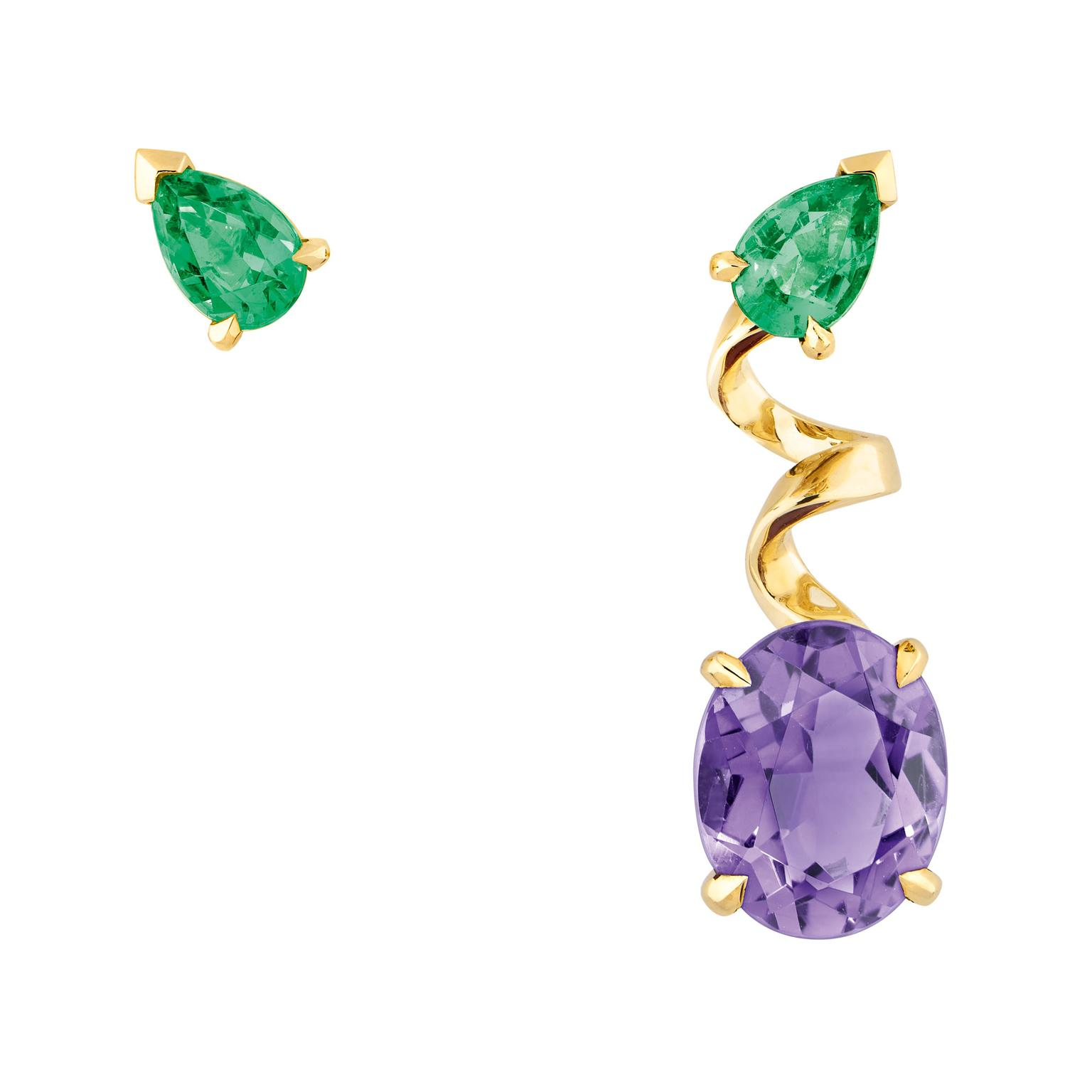Dior Diorama Precieuse emerald and amethyst mismatched earrings