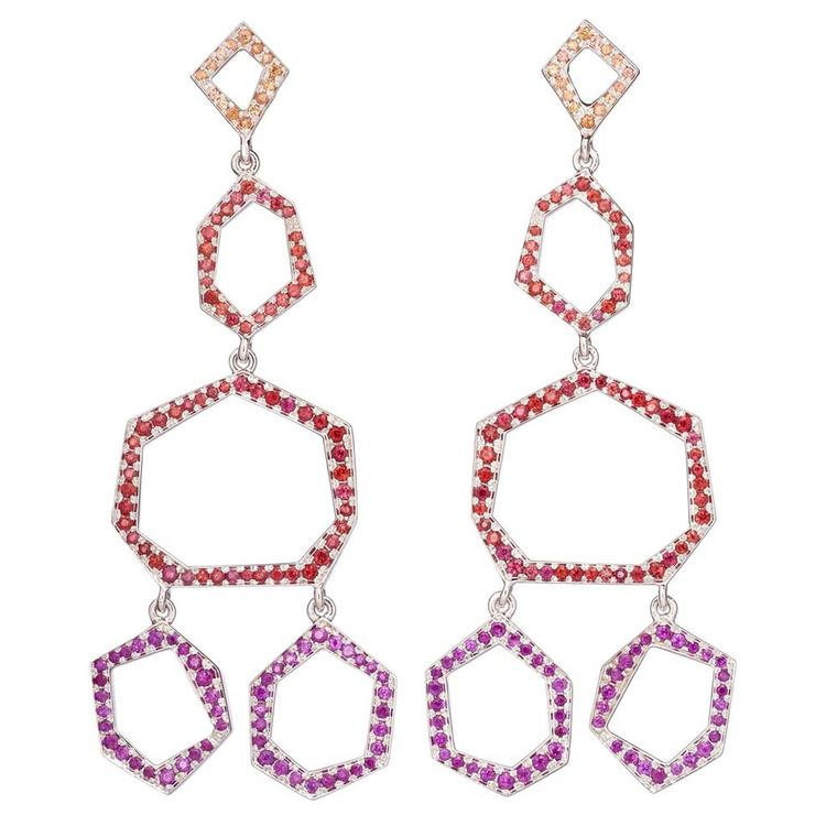CADA jewellery, such as these geometric gemstone earrings, is stocked at retailers such as Colette in Paris, Dover Street Market in London and Maxfield in LA.