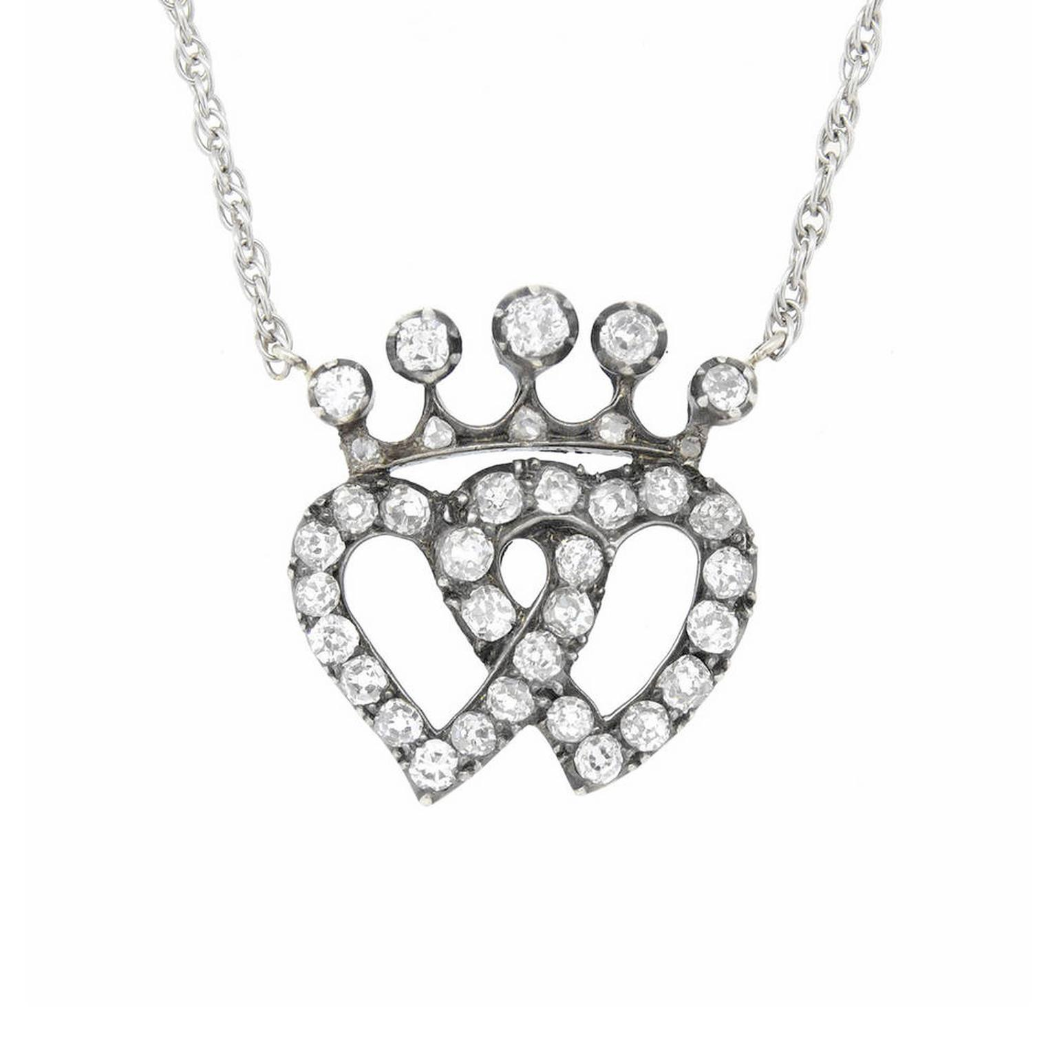 A Brandt diamond double heart necklace
