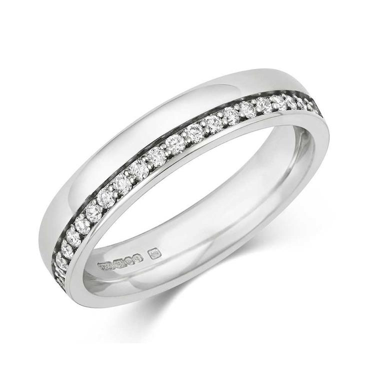 Cred Offset diamond half eternity ring in Fairtrade gold