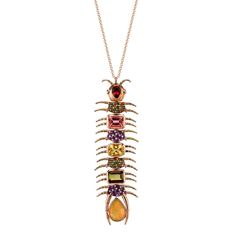 Empress Centipede necklace with multicolor gemstones