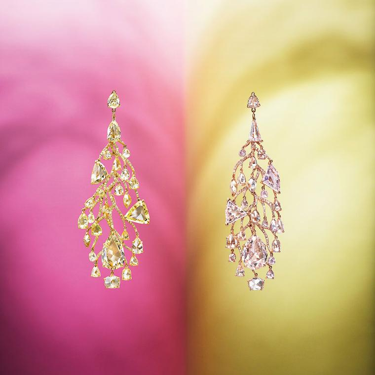 Edmond Chin pink and yellow diamond chandelier ear pendants