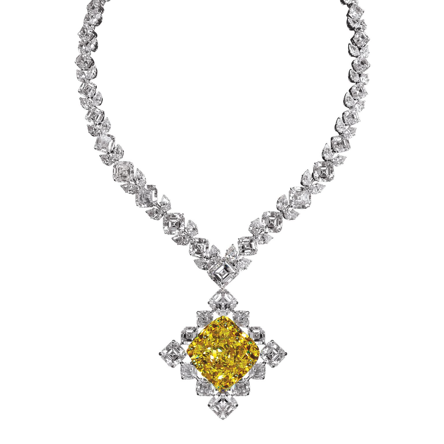 Jacob & Co 100ct Fancy Intense yellow diamond necklace