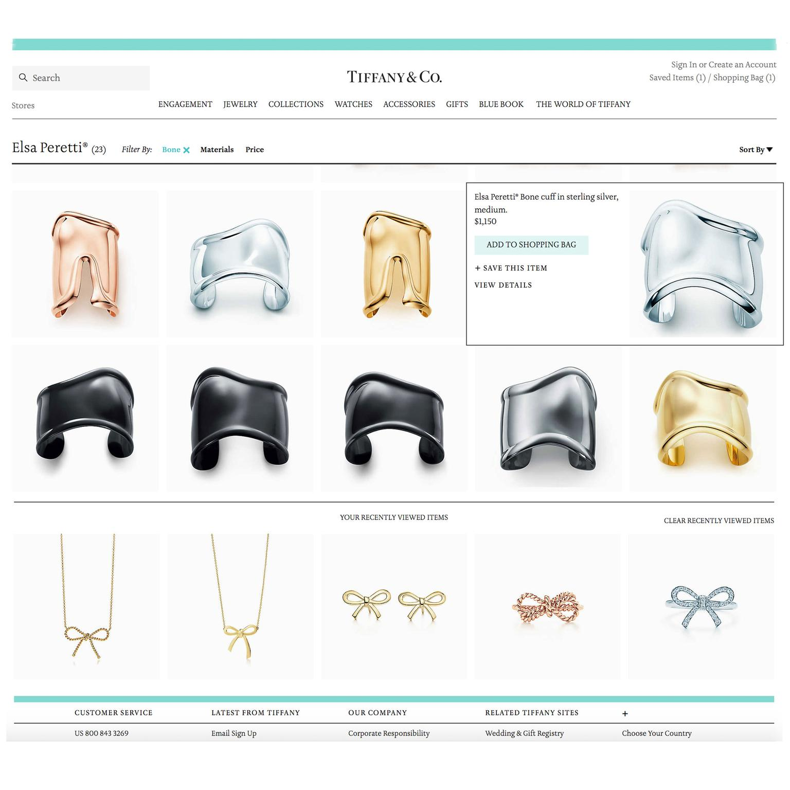 Tiffany e-commerce site