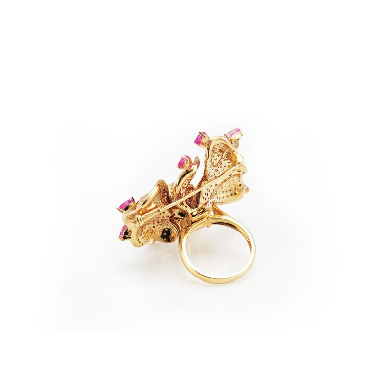 Fei Liu jewellery Orchid Flower ring brooch back