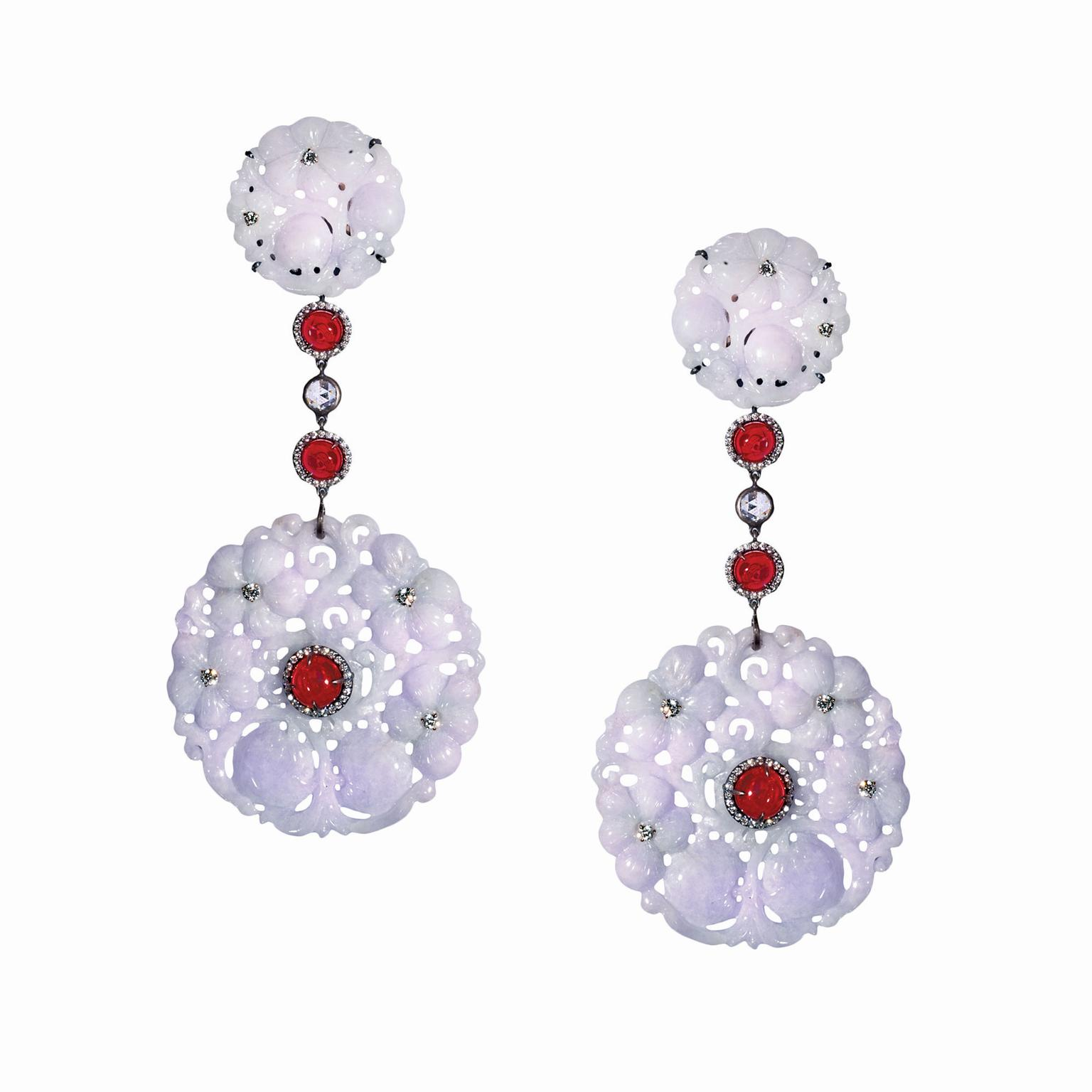 Suzanne Syz Empress Garden coloured jade earrings
