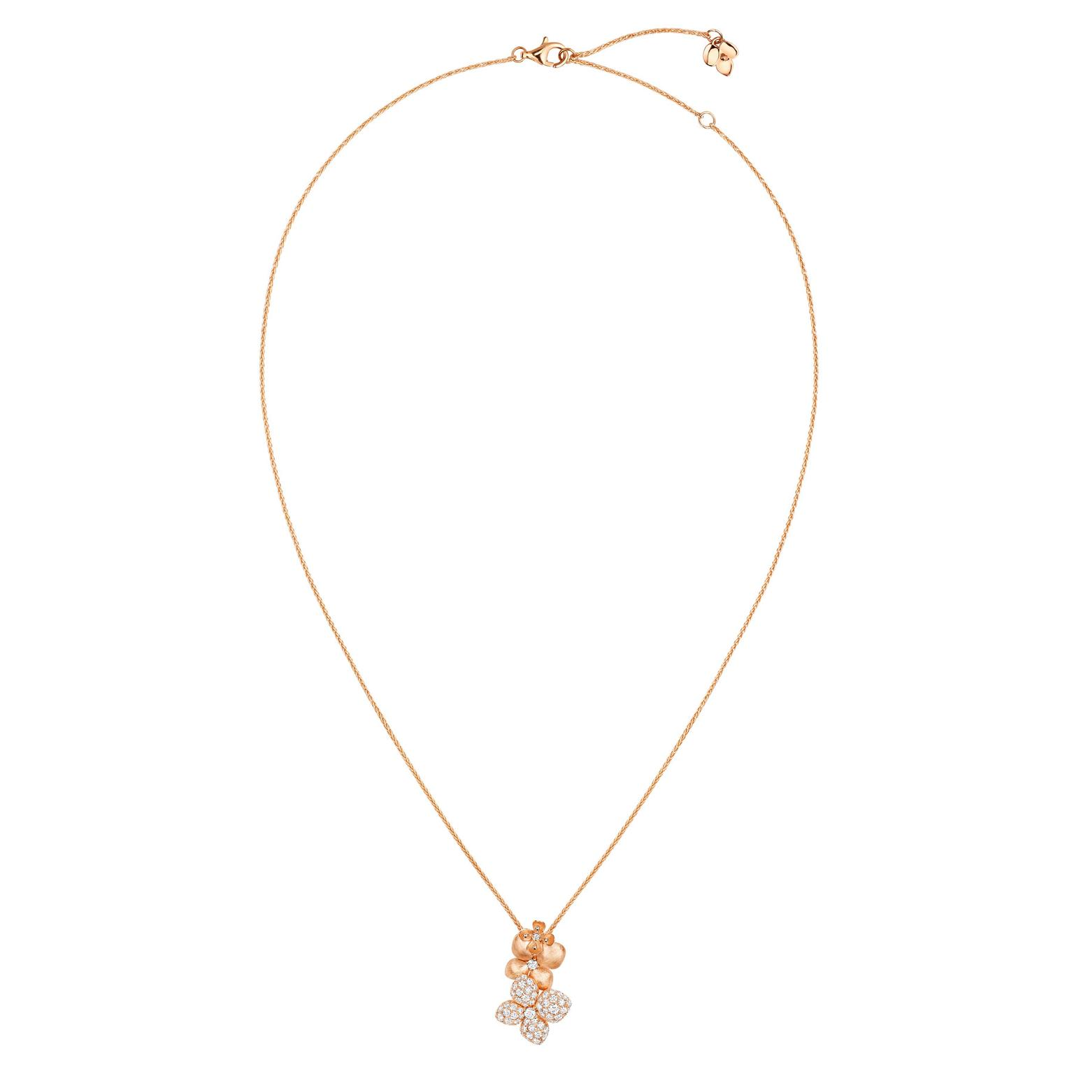 Chaumet Hortensia Astres d'or brushed rose gold and diamond pendant