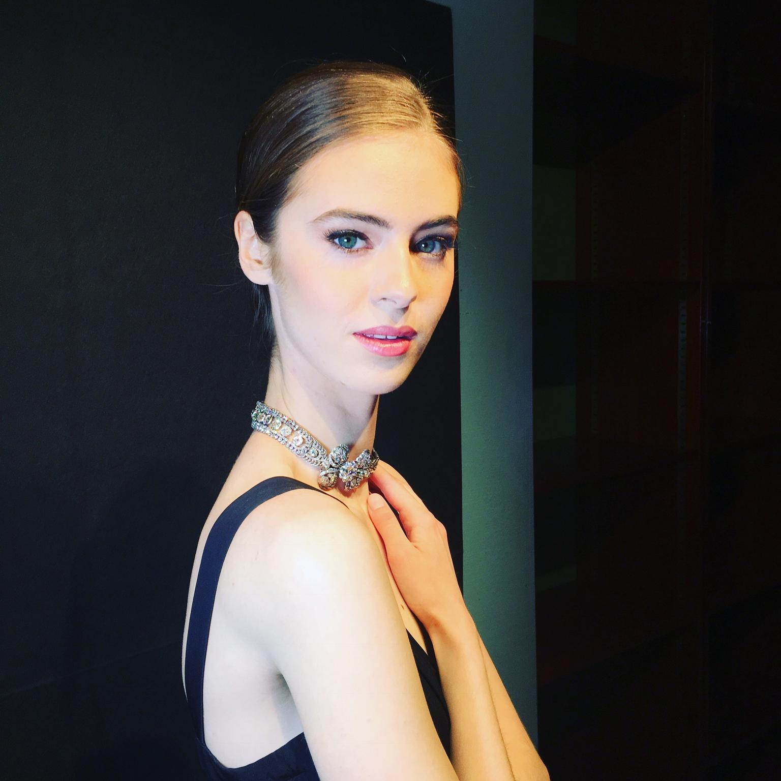 Model wearing Sotheby's Antique diamond necklace