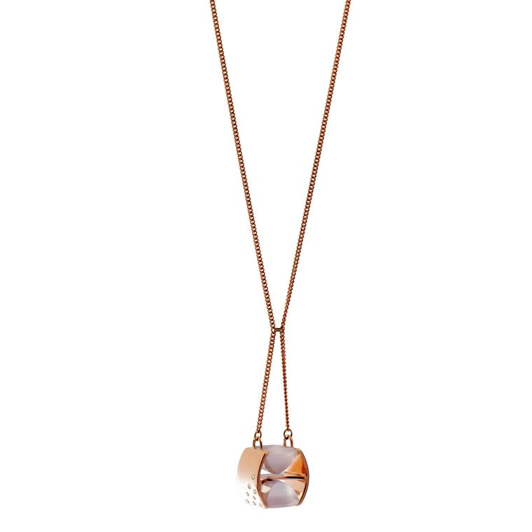 Hyperbola rose quartz necklace