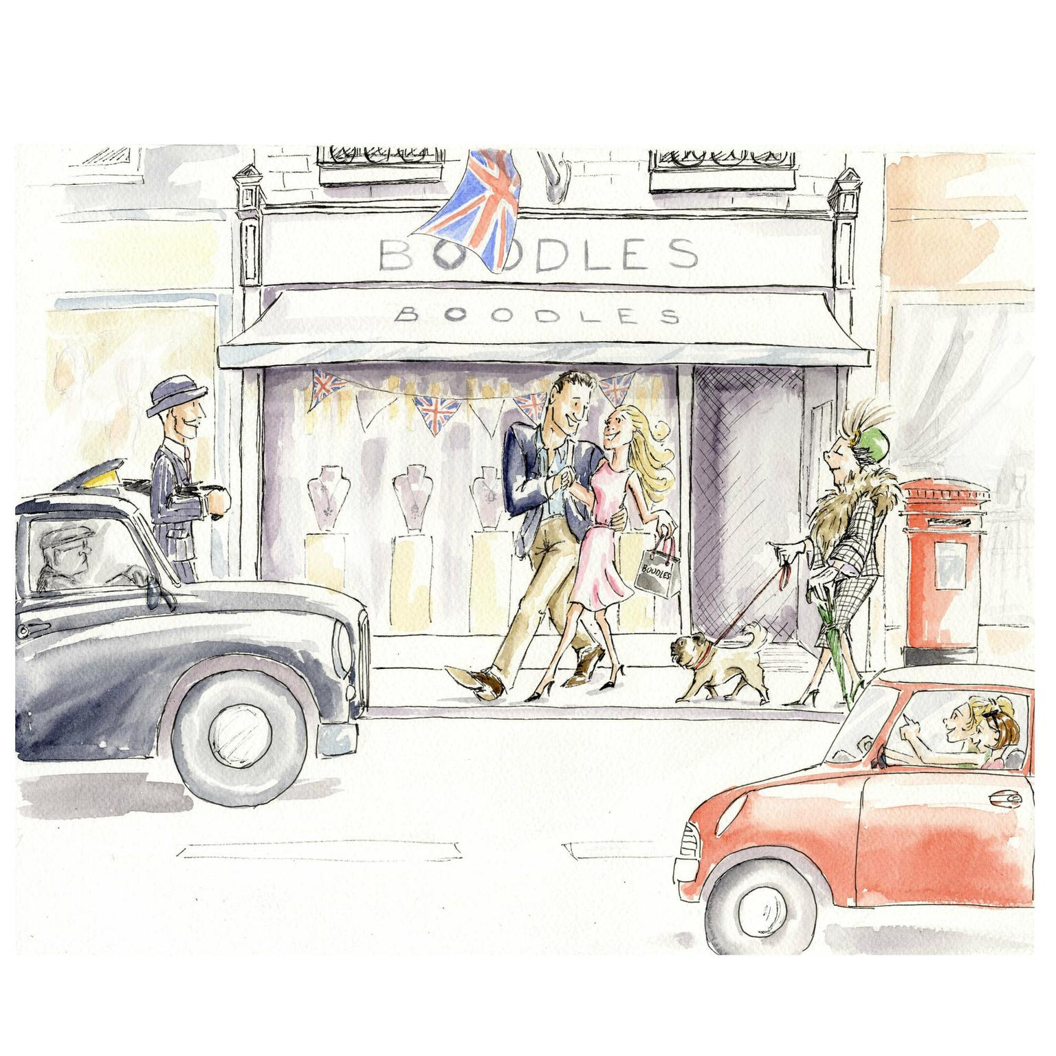 Sketch of the newly remodelled Boodles boutique on Bond Street