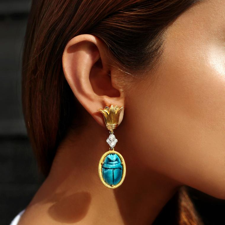 Featherstone Design Scarab diamond and turquoise earrings