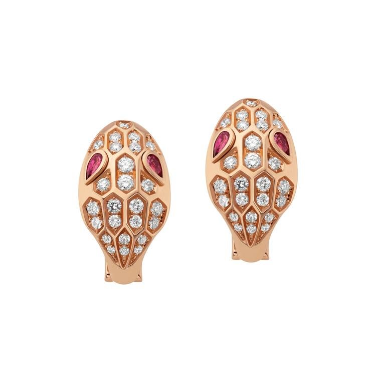 Bulgari Serpenti Seduttori earrings in rose gold with rubellites