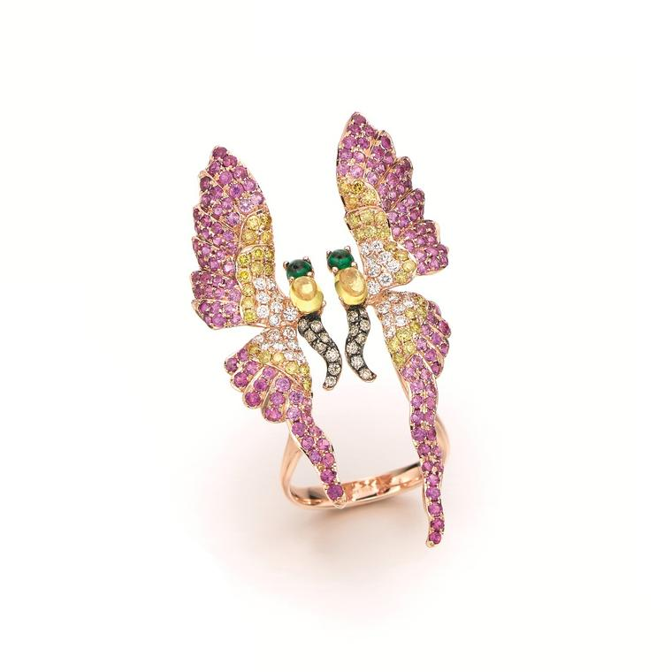Wendy Yue butterfly coloured gemstone ring