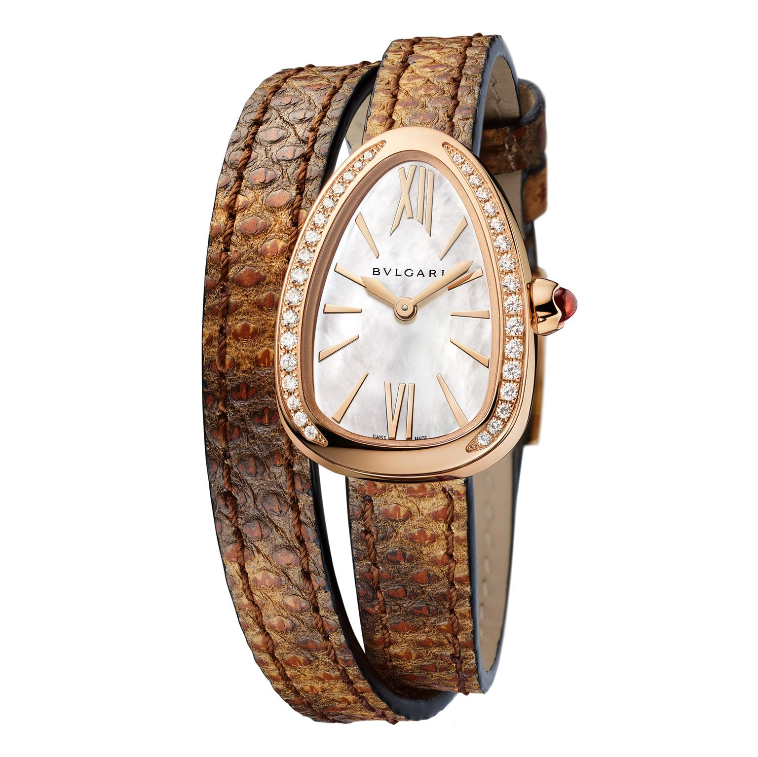 Bulgari Serpenti watch in rose gold with diamonds