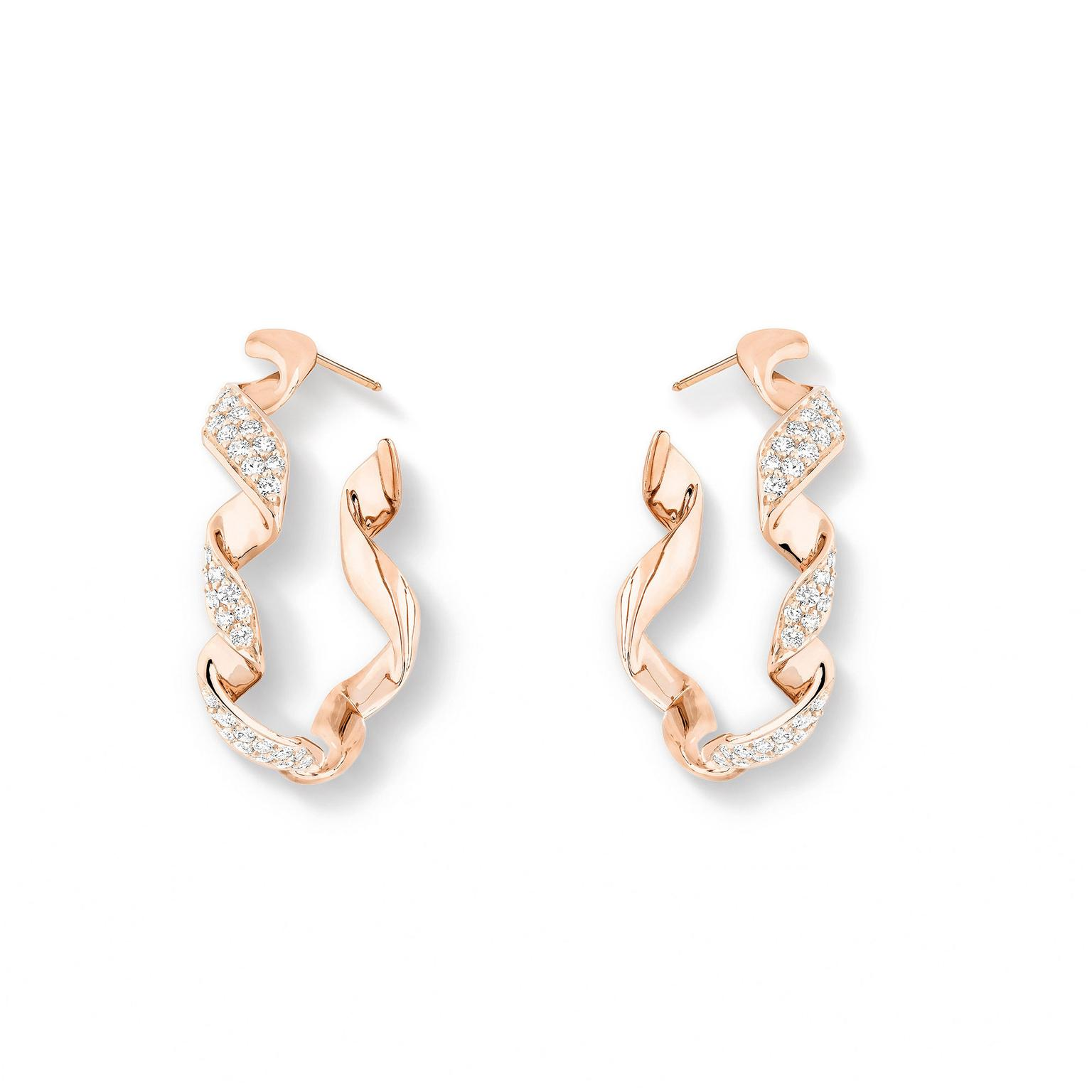 Dior Archi pink gold diamond earrings