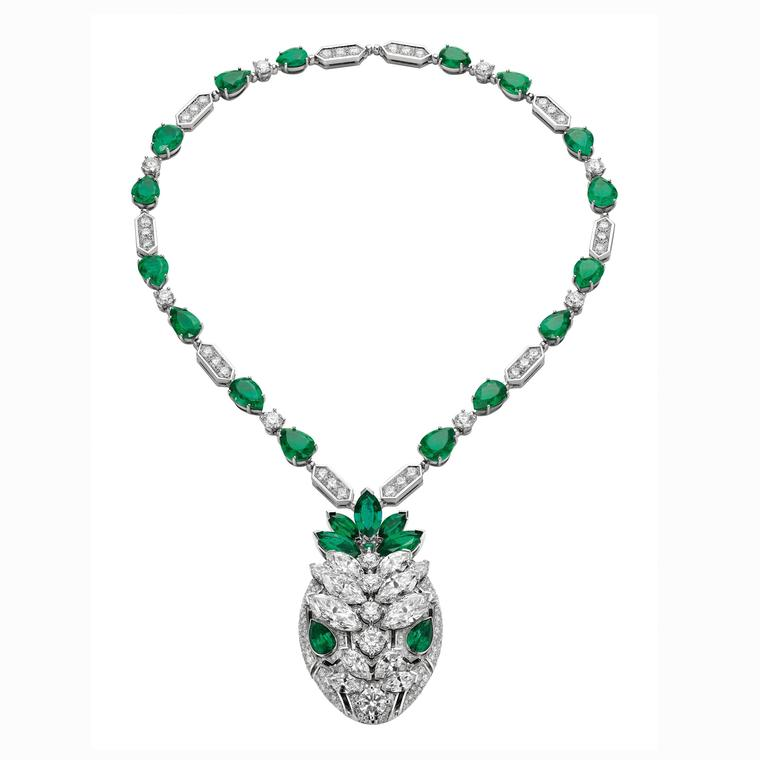 Bulgari Serpenti diamond and emerald necklace