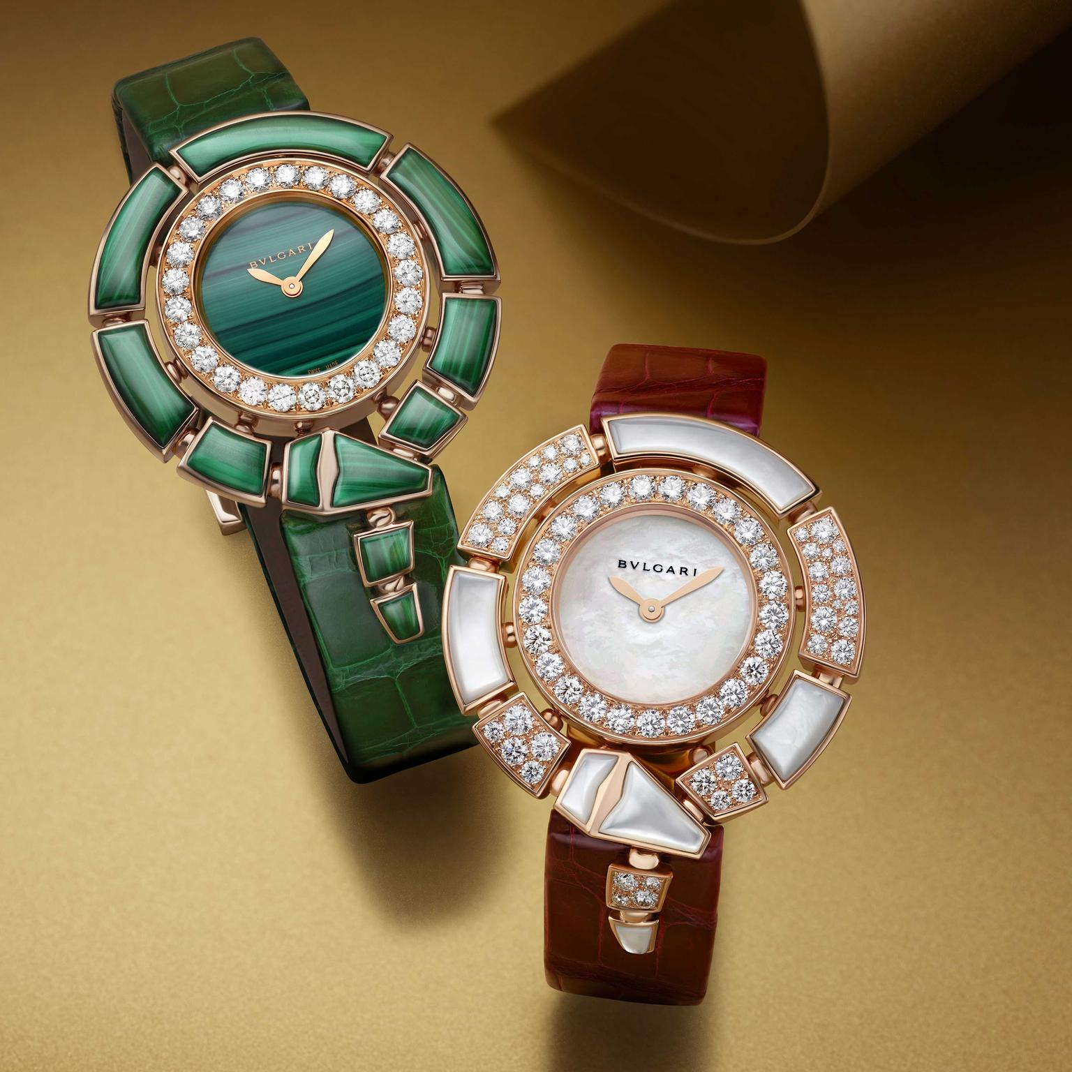 Two Serpenti Incantati watches malachite and mother of pearl