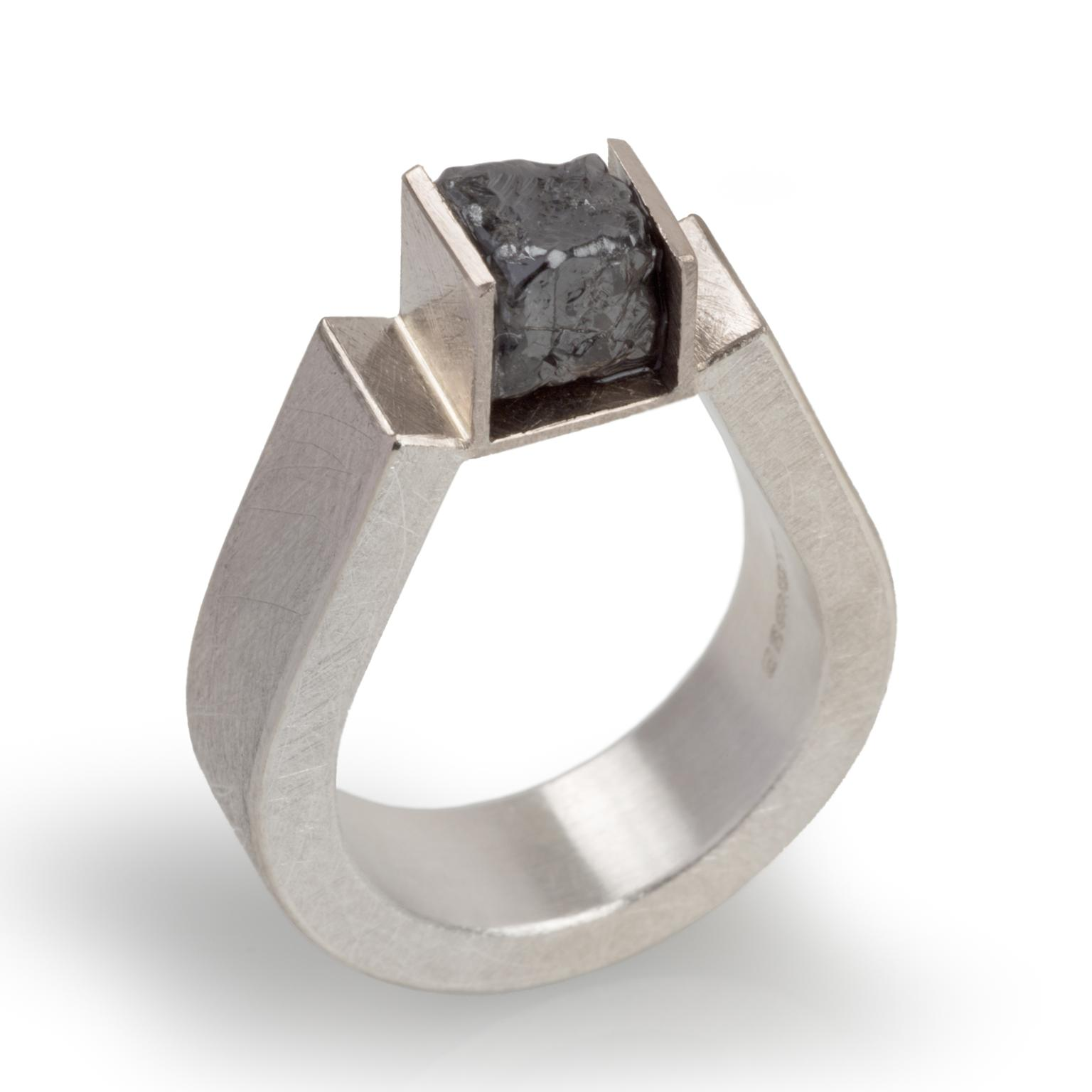 Rough diamond cube ring by Josef Koppmann