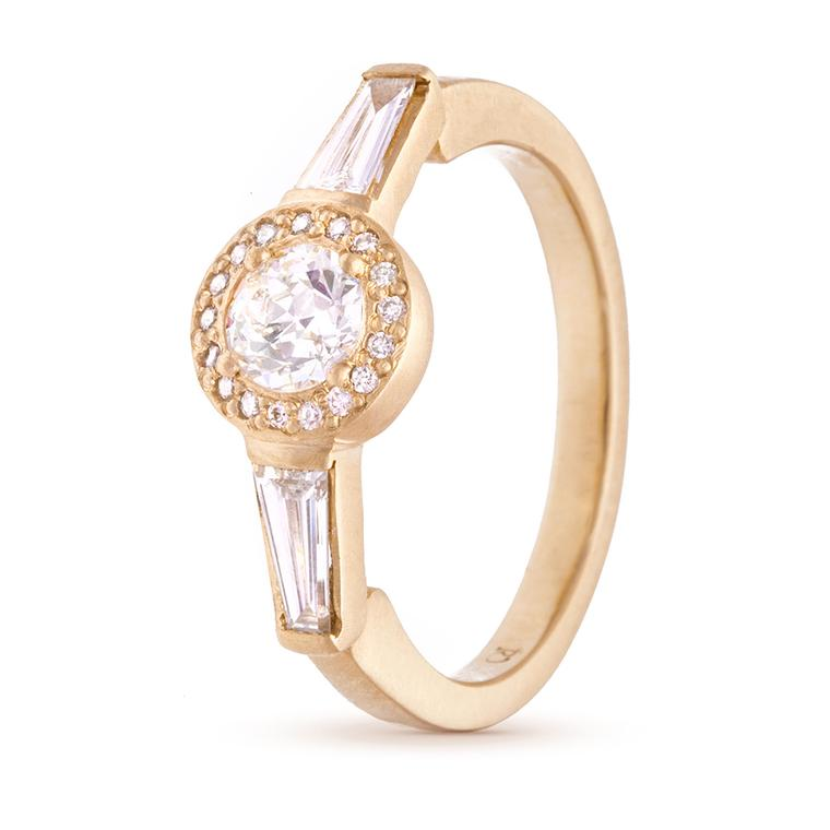 Rebecca Overmann diamond halo vintage-style engagement ring
