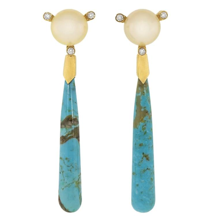 Turquoise and pearl earrings by Guita M