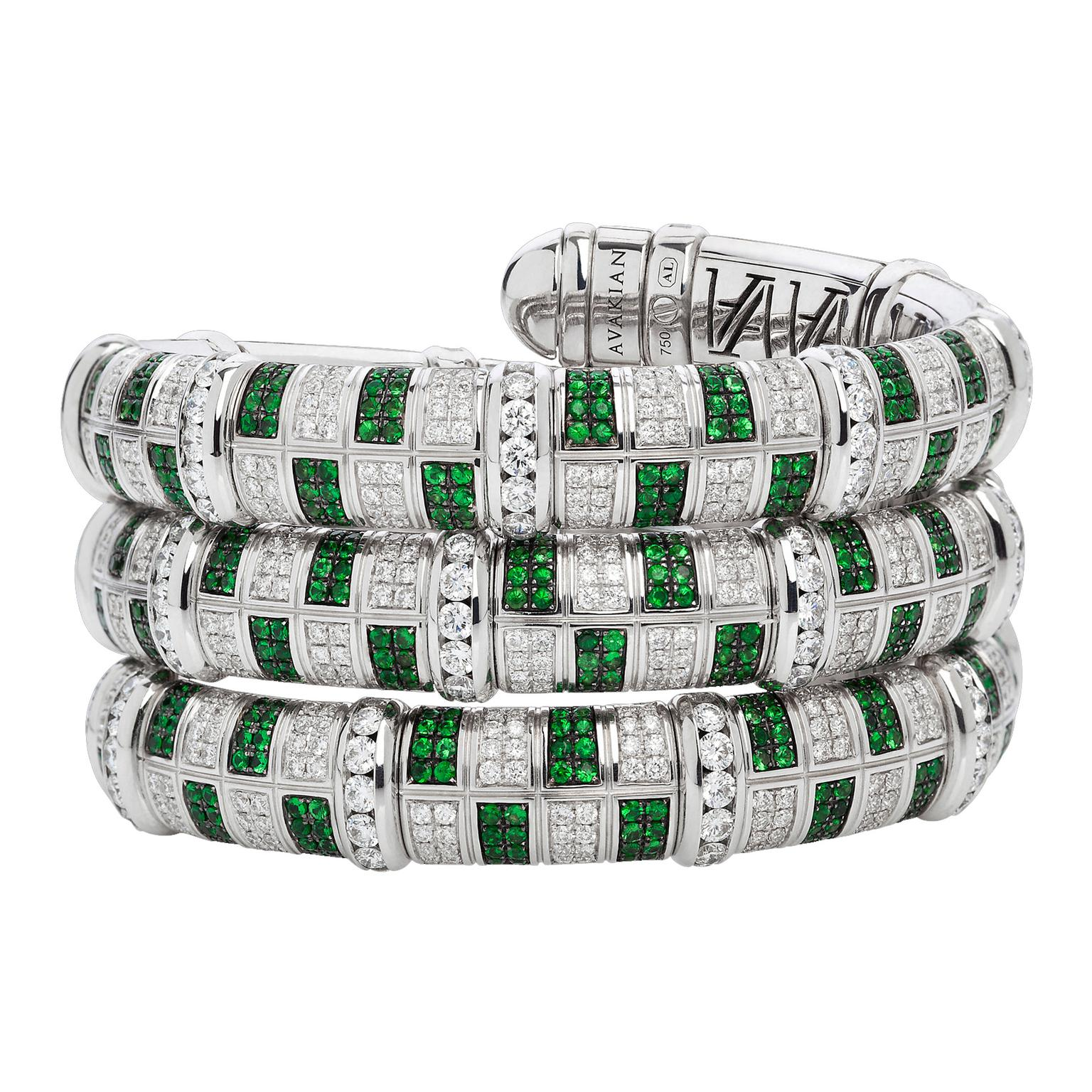 Avakian diamond and tsavorite Victory bracelet
