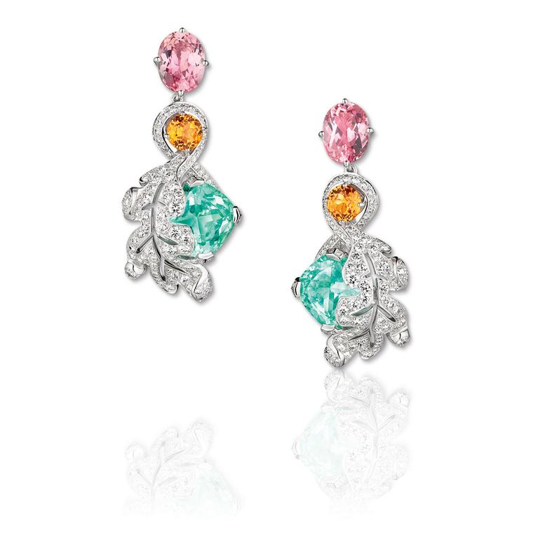 La Nature de Chaumet Promesse de L'Aube Oak earrings in white gold, set with Paraiba tourmalines, pink tourmalines, garnets and diamonds