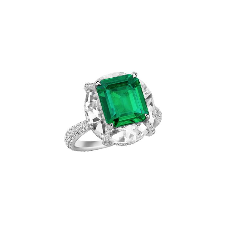 Boghossian emerald ring with diamonds