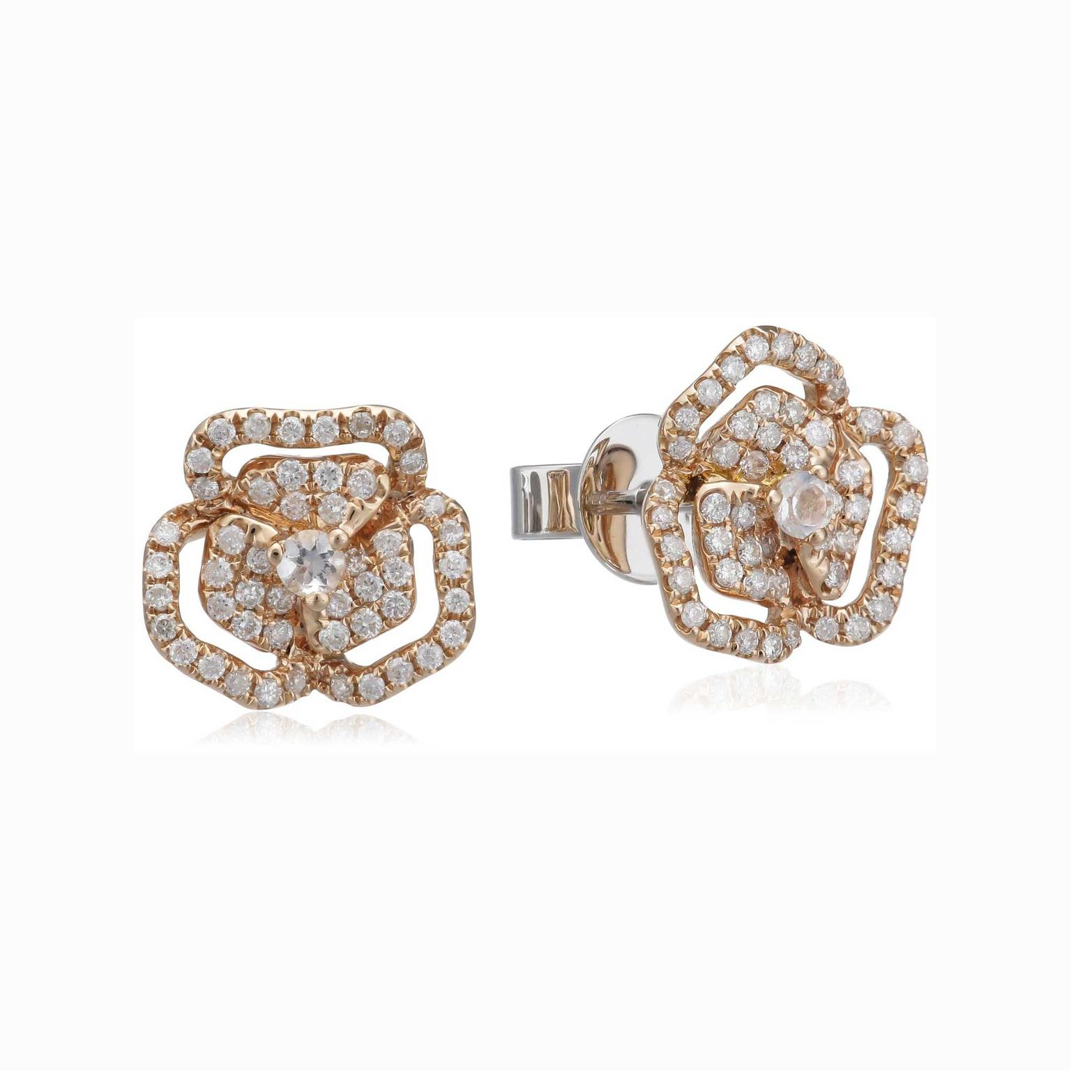 AS29 rose gold diamond flower earrings