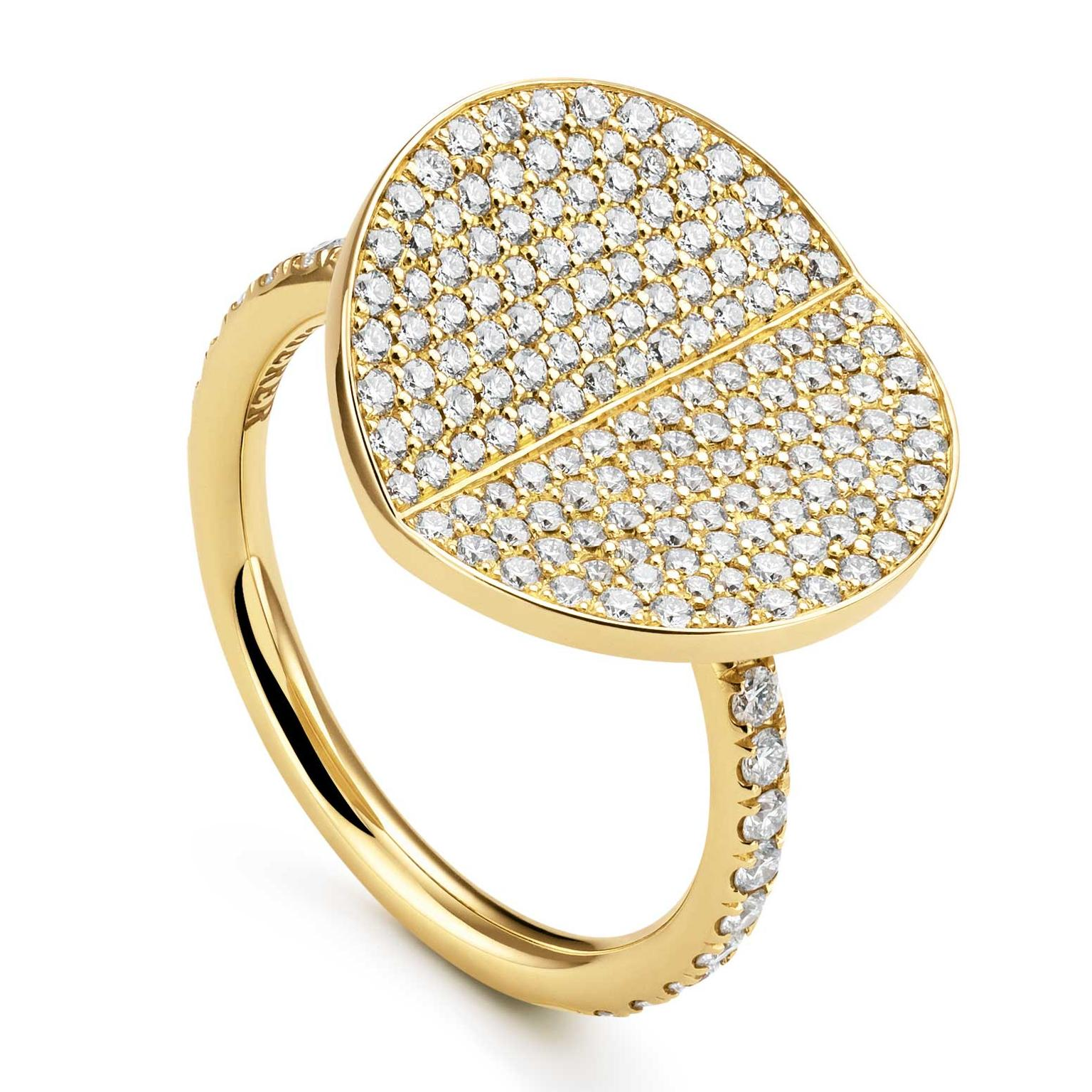 Large Bucherer B Dimension ring with diamonds in yellow gold Price £3500