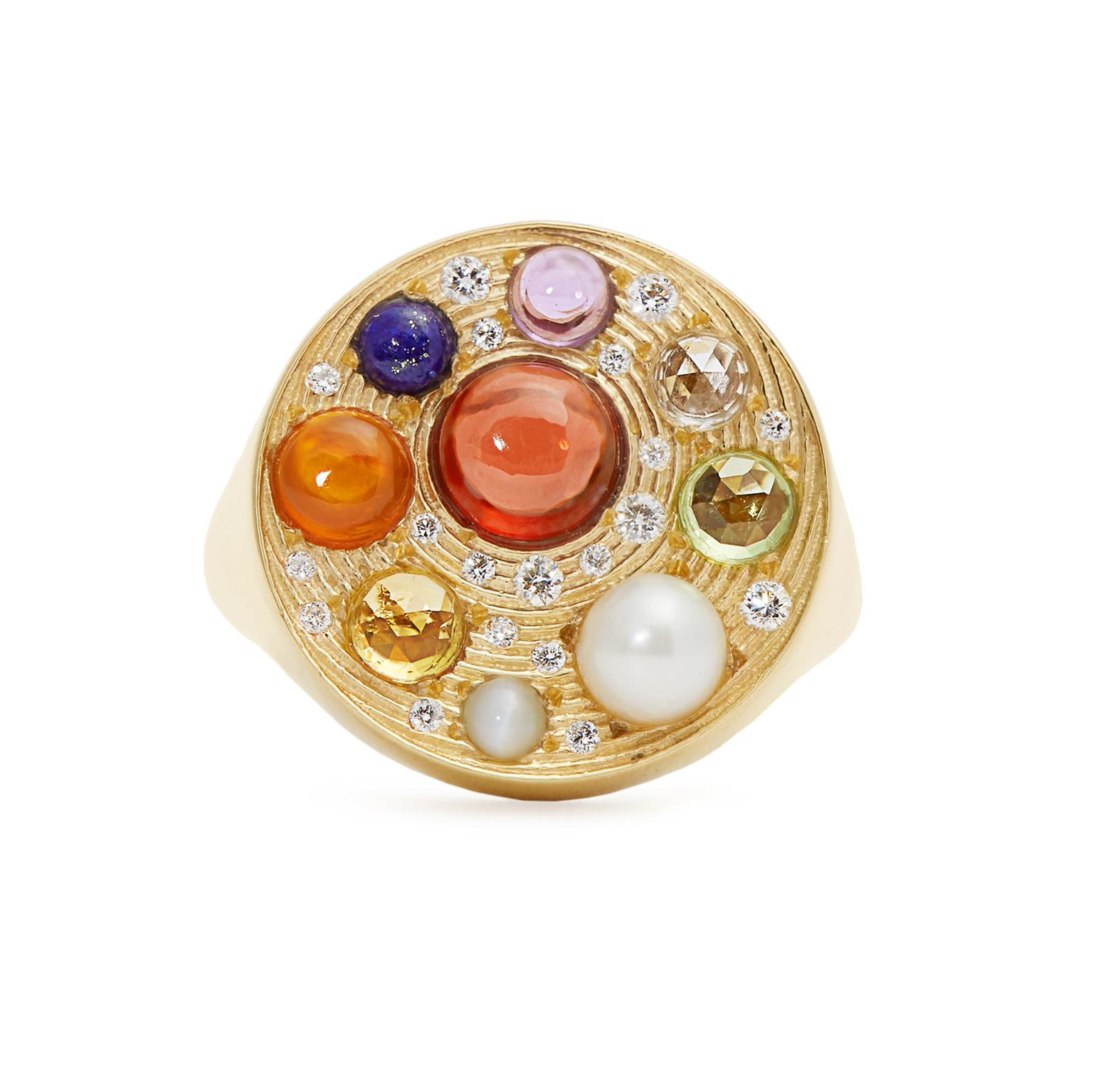 Noor Fares gold and gemstone signet ring