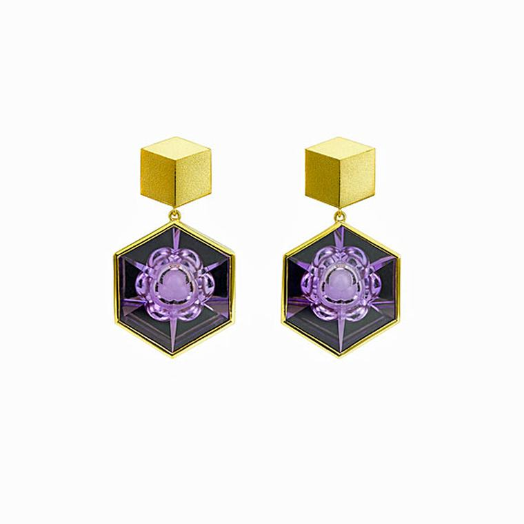 Atelier Munsteiner hexagonal relief carved amethyst earrings