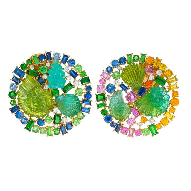 Margot McKinney Tree of Life earrings featuring carved tourmalines accented with multi-coloured sapphires and tsavorites